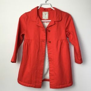 GYMBOREE Red Cotton Peacoat w Shearling Lining 5